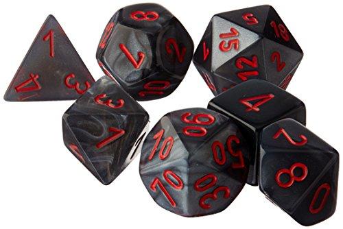 Chessex CHX27478 Dice-Velvet Set, Black/Red, Large (18mm - 25mm)