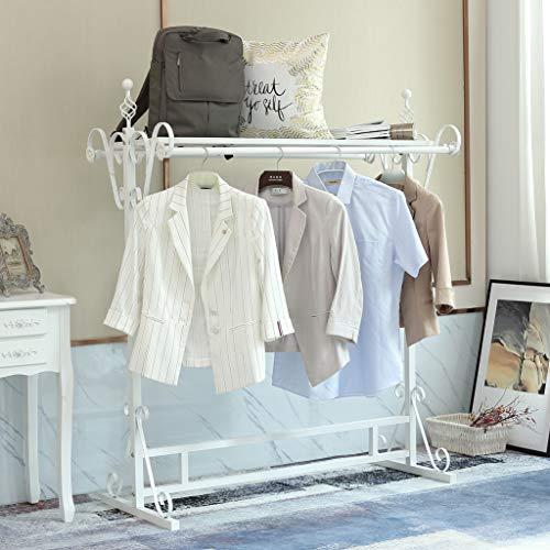 Loywe Kleiderständer Garderobenständer, 146 x 120 x 60 cm, Vintage-Stil Metall Kleiderstange LW3508-Weiss