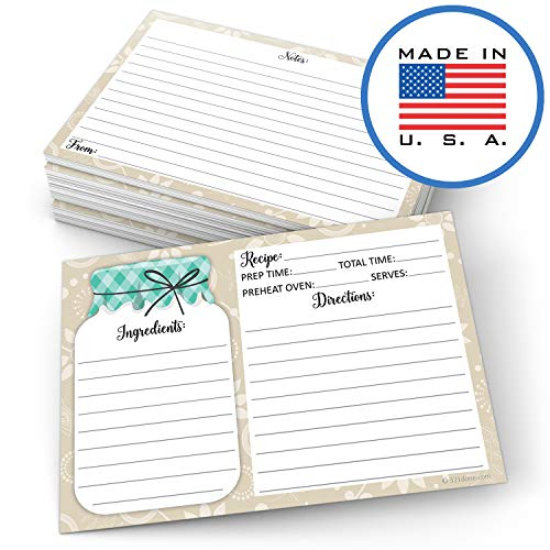 "321Done Mason Jar Recipe Cards (Set of 50) Rustic 4"" x 6"" Double-Sided Premium Card Stock - Made in USA - Rustic Green and Tan, Large Notes From"