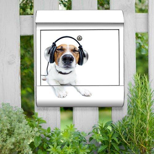 motivX-Ideenwerkstatt Briefkasten Kombi Wandbriefkasten mit Motiv Hund mit Kopfhörern