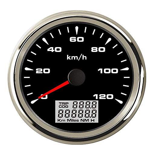Odometer Spur Tachometer 85mm wasserdichte Digital GPS Tachomessgerät 120 km/h 200 km/h-Entfernungsmesser for Auto-Marine-LKW ZHQHYQHHX (Color : Black Silver 120kmh, Size : Kostenlos)