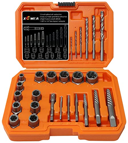 XEWEA Screw&Bolt Extractor Set and Drill Bit Kit, Easy Out Broken Lug Nut Extraction Socket Set for Damaged, Frozen,Studs,Rusted, Rounded-Off Bolts, Nuts & Screws- 26Pcs