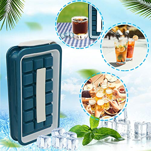 GHSY Ice Cube Storage Box,Multi-Purpose Insulation Ice Mould Tray,Silicone Ice Cube Maker with Switchable Lid, Easy-Release Ice Cube Mould for Cocktails, Beer, Whiskey, Fruit Ice