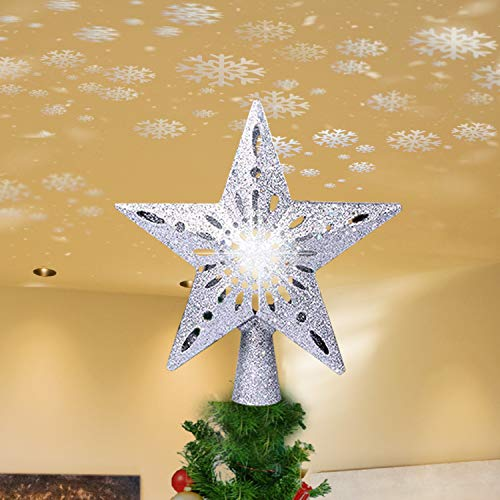 Christmas Tree Topper, 10-Inch Silver Glittered 5 Point Star Treetop with Snowflakes Projector, Night Light for Christmas Nursery Home Party Indoor Decoration. (Star)