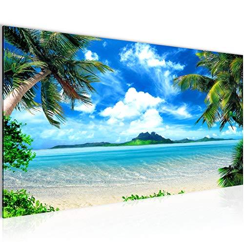 Pintura Mural Playa Palmeras 1 Parte Moderno Cuadro Lienzo no Tejido Sala Corredor Mar Azul Beige 603312a