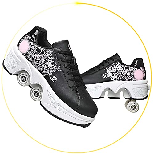 Patines De Doble Fila con Deformación 4 Rueda para Adultos Zapatos para Caminar Automáticos Ajustables Patines De Hielo para Niñas
