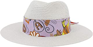 2019 Mens Womens Hats Womens Summer Hat for Womens Adult Beach Straw Sun Hat Wide Roll Up Brim Outdoor UV Beach Hat Fedora Hat Lady Hat Fashion Casual Lightweight (Color : White, Size : 56-58CM)