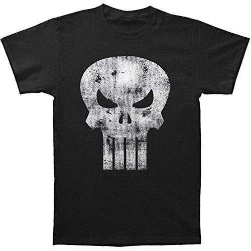 Black Distressed Punisher Skull Logo T-Shirt - Large