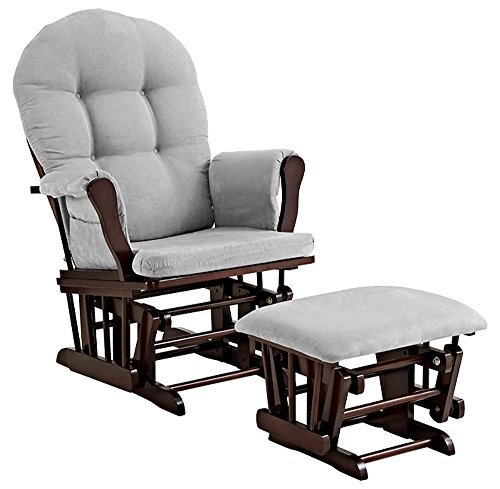 Angel Line 61311-49 Windsor Glider and Ottoman, Espresso with Cushion, Gray,...