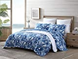 Tommy Bahama   Royal Palm Collection   Quilt Set - 100% Cotton, Reversible, All Season Bedding, Soft & Breathable Fabric with Matching Shams, King, Blue