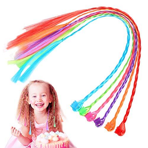 CHIFOOM 24stk Farbiger Haarsträhnen Kinder Bunte Haarverlängerungs Clip Nylon Geflochtene Haar Extensions Neon Haarteil Regenbogen für Mädchen Haarschmuck Party Geburtstage Karneval