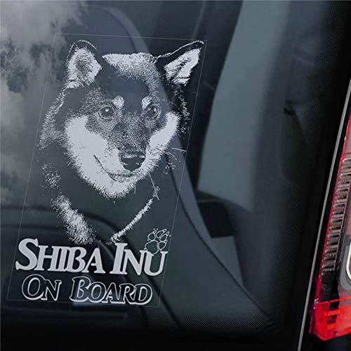 Shiba Inu on Board Autoaufkleber Japanischer Ken Hund Schild Aufkleber Schild Auto Aufkleber Vinyl Aufkleber Fenster Aufkleber Stoßstange Aufkleber