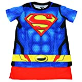 DC Superman Caped Costume Tee, Youth (Large (10/12)) Blue