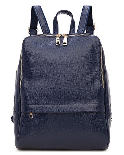 Greeniris Lady Genuine Leather Backpack moda di scuola della spalla dello zaino della donna Bag Blue