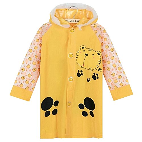 Jaune Tiger Cute Baby Rain Jacket Enfant imperméable Toddler pluie Wear M
