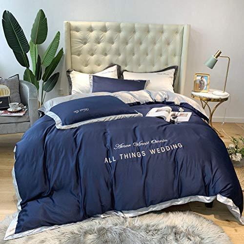 funda nordica cama 180,Verano de doble cara seda de cuatro piezas de cuatro piezas de seda de cuatro piezas cama de sensación de bordado individual de bordado regalo-Volar_1,8 m de cama (4 piezas)