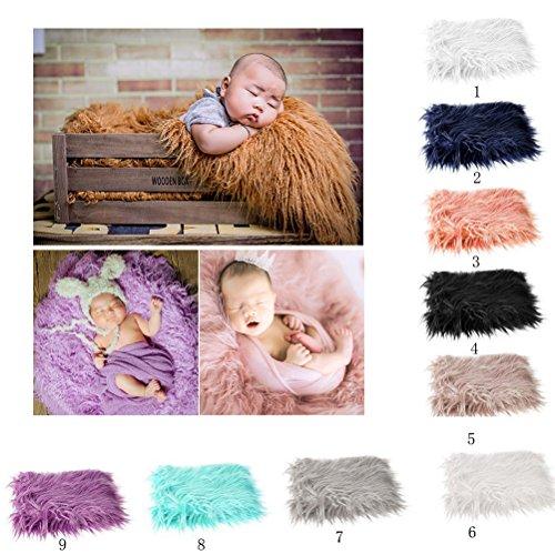 OULII Baby Foto Requisiten weiches Fell Quilt fotografischen Matte DIY neugeborenes Baby Fotografie Wrap-Babyfoto Props Gefälligkeiten (Beige)