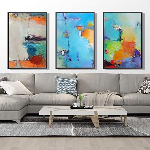 con Textura Abstracto Pared Arte Pintura Colorido Fondo Lienzo Poster e Imprimir Pared Decoracion Cuadros para Salon Habitación Dormitorio Decoracion 40 × 60cm × 3 Sin Marco