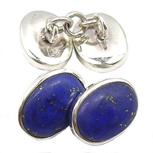 Bijoux et Objets - Boutons de Manchette Lapis-Lazuli en Argent Massif - Dimensions des Pierres 8x12mm