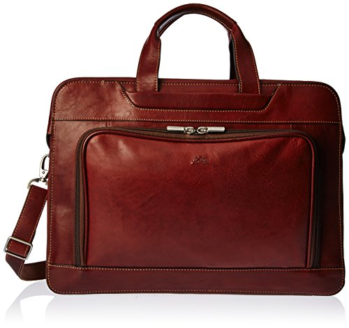 Tony Perotti Mens Italian Cow Leather Napoli Laptop Zip-Around Double Compartment Leather Briefcase in Brown