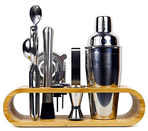 Coctelera de Cóctel 10 piezas, de acero inoxidable, con almacenamiento de bambú noble, incl. Coctelera, exprimidor de cítricos, barmass, pinzas para hielo, boquilla