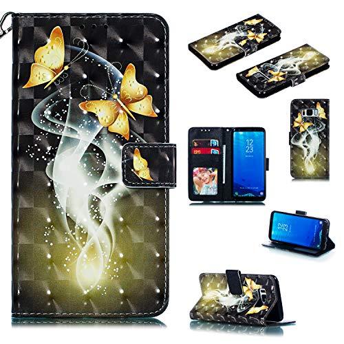 Nadoli Wallet Handyhülle für Galaxy S8,Kreative 3D Gold Schmetterling Muster Taljereep Ständer Flip Ledertasche Brieftasche Schutzhülle Etui für Samsung Galaxy S8