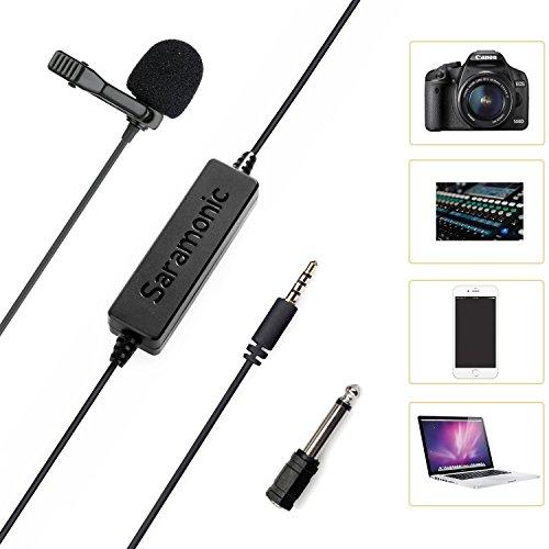 LavMicro Broadcast-kwaliteit Lavalier-omnidirectionele microfoon met 3,5 mm TRS/TRRS combo stekker & 6,3 mm adapter voor smartphones, DSLR-camera's, camcorders & recorder