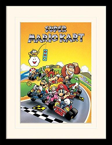 1art1 Super Mario - Kart, Retro Gerahmtes Bild Mit Edlem Passepartout | Wand-Bilder | Kunstdruck Poster Im Bilderrahmen 40 x 30 cm