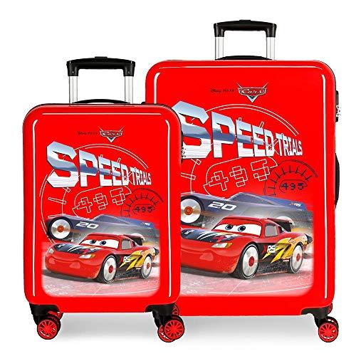 Disney Cars Speed Trails Juego de Maletas Rojo 55/68 cms Rígida ABS Cierre combinación 104L 4 Ruedas Dobles Equipaje de Mano