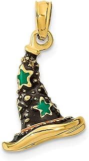 3D Sorcière Chapeau de lune étoile argent sterling Halloween Sorcière Bijoux Pendentif Charm