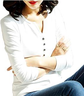 [CAIXINGYI] 新しい 秋 冬 ロングスリーブ Vネック Tシャツ 女性 無地 スリムフィット 4色 内部 編み物 タイト ボトムアップ Tシャツ トップ