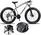 BUK Bicicletta Mountain, Bicicletta da Trekking Fat Tire da Uomo Bicicletta da Trekking da Cross Ciclismo da Esterno 26 Pollici/Telaio in Acciaio ad Alta Resistenza medio-27 velocità_26 Pollici