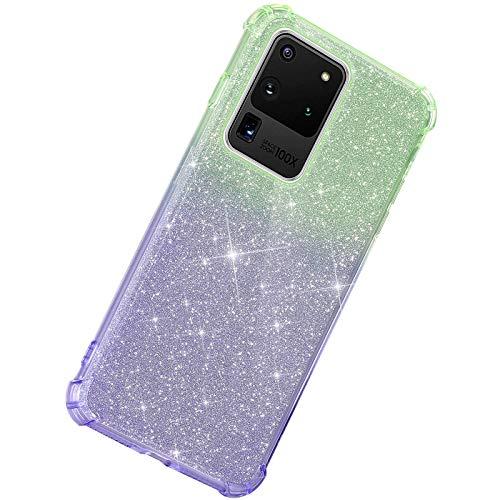 Herbests Kompatibel mit Samsung Galaxy S20 Ultra Hülle Durchsichtig Farbverlauf Glänzend Kristall Glitzer Transparent TPU Silikon Handyhülle Ultradünn Stoßfest Bumper Case Schutzhülle,Grün Lila