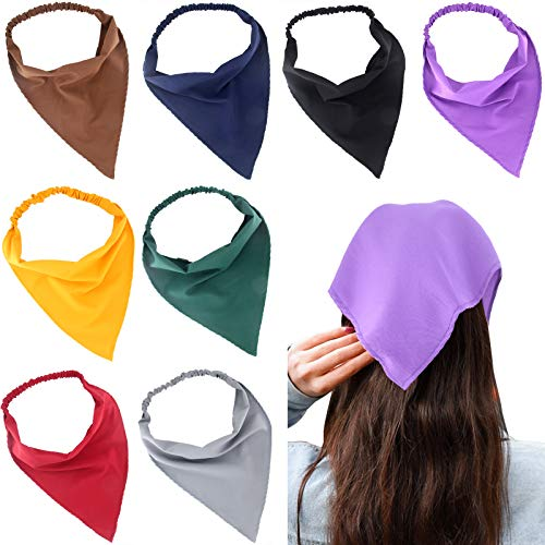 Carede Solid Bandana Headbands for Women Elastic Hair Scarf Headbands Chiffon Head Kerchief Triangle Hairbands with Clips for Girls,Pack of 8