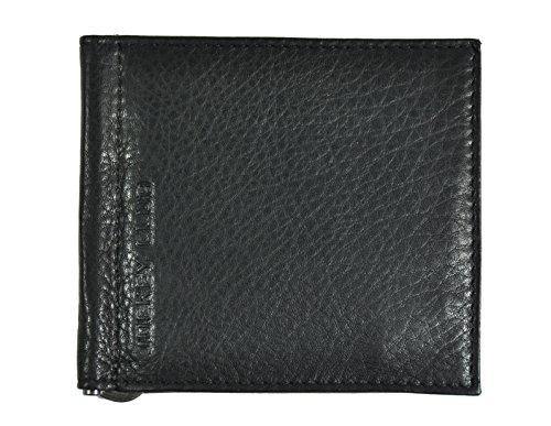 echt Leder Dollar Clip Geldklammer Geldbörse Kreditkartenetui mit Federschnapp-Münzfach Nappaleder schwarz