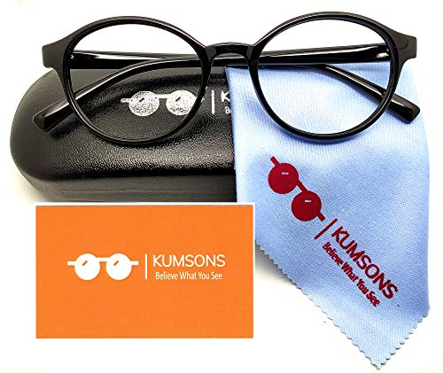 KUMSONS Round Blue Ray Cut UV 440'ZERO Power' Oversized Glasses for Mobile Laptop Computer Gaming Screen Protection