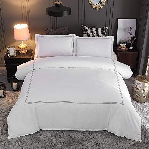 Alinory Juego de Funda de edredón Bordado, Colcha, para Dormitorio, Sala de Estar, Hotel, hogar(Queen 228 * 228 Pillowcase 50 * 66 * 2)