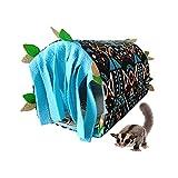 Túnel para escondite de animales pequeños, escondite y accesorios de jaula, hábitats, nido con cortina de borla y almohadilla de doble propósito