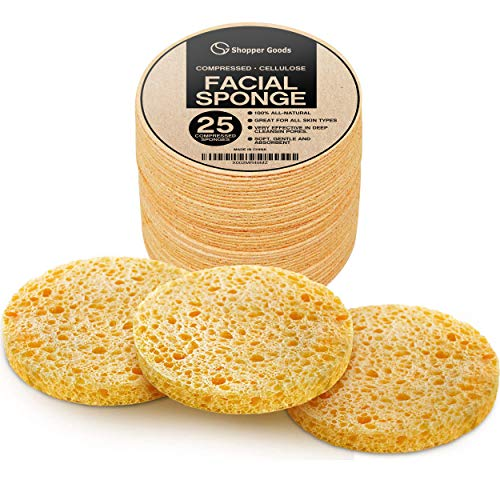 Facial Sponges 100% Natural Compressed Cellulose (25 Count Pack) | Eco-Friendly & Reusable | Makeup Remover Pads/Sponge | Exfoliating Facial Wash/Scrub & Skin Cleanser