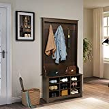 Itaar 68.7 Inch Coat Rack, Entryway Wooden Hall Tree with Storage Bench, Shoe Rack with 9 Cubbies, Coat Rack Shoes Bench with 3 Hooks, Perfect for Entryway, Dorm Room, Apartment, Brown
