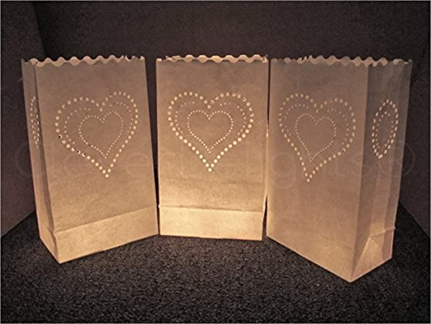 CleverDelights White Luminary Bags - 20 Count - Heart of Hearts Design - Flame Resistant Paper - Wedding, Reception, Party and Event Decor - Luminaria Candle Bag