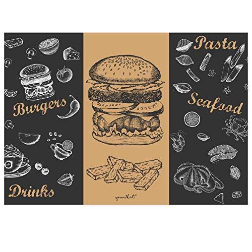 100 Tischunterlagen mit Menü-Motiv Burger I DIN A3 eckig I Platz-Set aus Papier I modernes Design I Einweg Tischset I schwarz braun I Gastronomie und Haushalt I dv_816