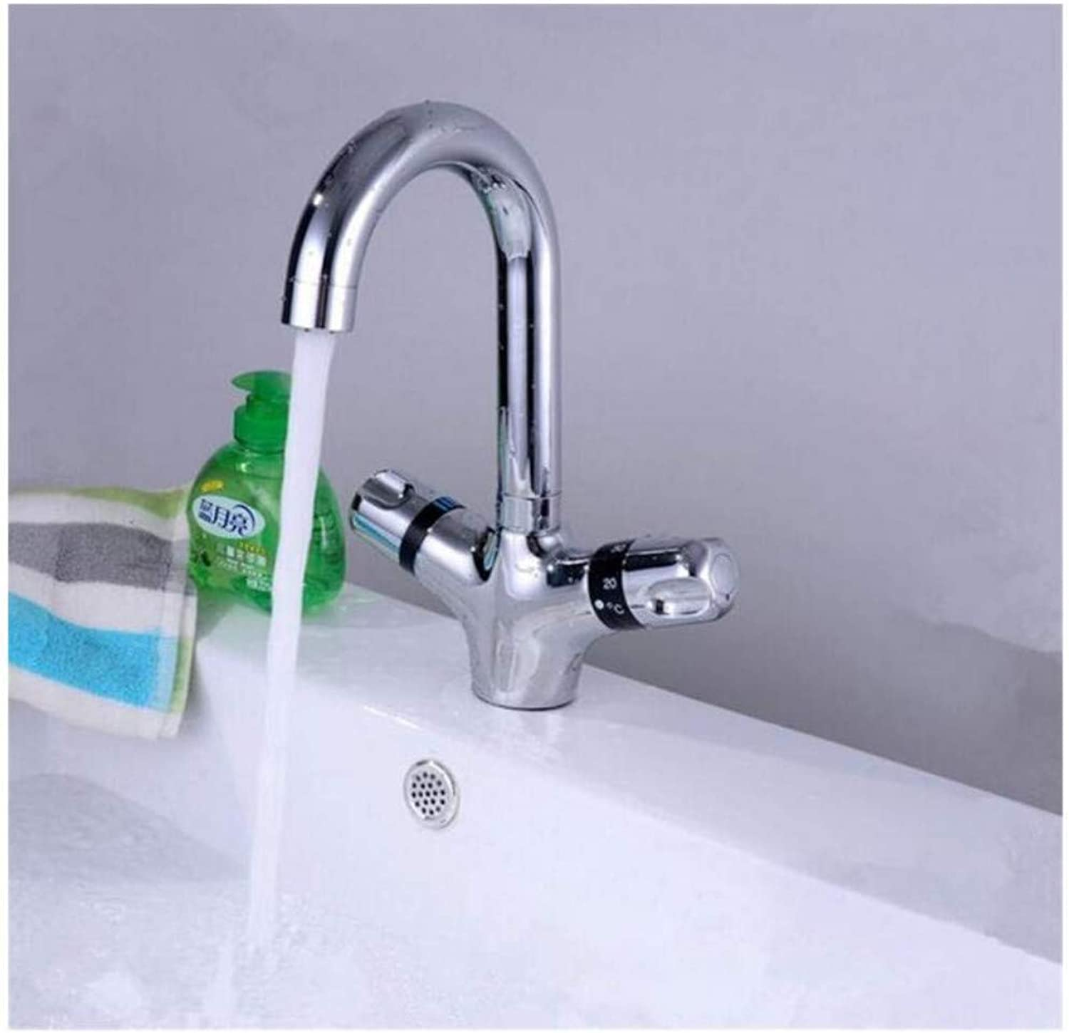 Modern Double Basin Sink Hot and Cold Water Faucetthermostatic Bathroom Mixer Faucet Sink Mixer Tap The Basic Fauct