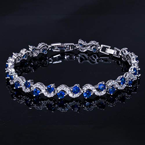Pulsera para las mujeres de lujo color plata rosa rojo cristal piedra mujeres pulseras brazaletes con zirconia cúbico joyería azul