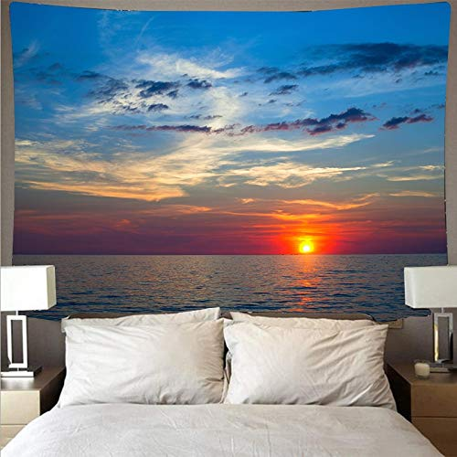 Hermoso atardecer tapiz olas grandes playa azul mar tapiz de pared tapiz decoración del hogar fondo tapiz de tela A6 130x150cm