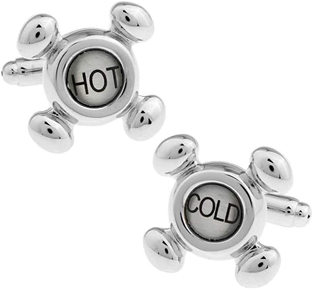 Faucet Cufflinks Hot Cold Taps for Plumber Plumbers Cuff Links