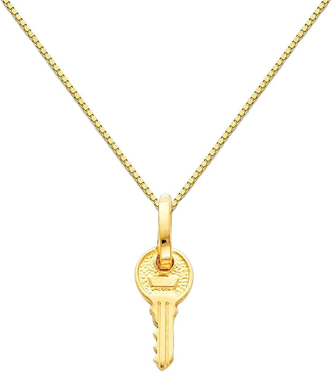 14k Yellow gold Key Charm Pendant with 0.65mm Box Link Chain Necklace