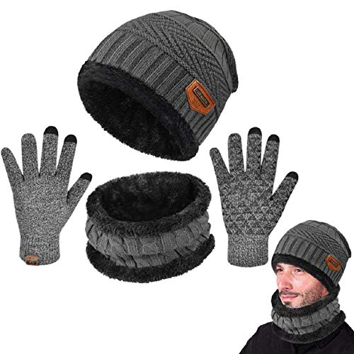 Tuopuda Cappello Uomo Invernali Berretto Donna e Sciarpa Set in Maglia a Fodera di Lana Unisex Beanie Hat Set includono Cappello Scaldacollo Guanti Touch Screen