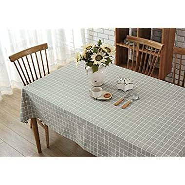 Wimaha 52x70In Check Plaid Rectangle Tablecloth for Rectangular Table, Cotton Linen Fabric Table Cloth Cover for Picnic, Home Kitchen Dinner Christmas Thanksgiving Party Table Topper Decoration, Grey