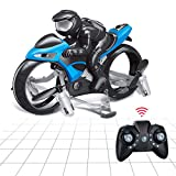 Aveloki Flying Motorcycle RC Drone, Land and Air Dual Mode Headless Remote Control Four-Axis Drone, Fly Gift for Children, Boys and Girls(Blue)